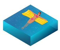 Enjoying suntan concept. Summer Vacation. Isometric woman in bikini on the yellow air mattress in the big swimming pool. Vector illustration Royalty Free Stock Photography