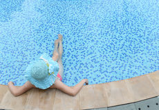Enjoying a swimming pool Royalty Free Stock Photo