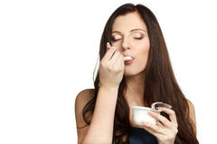 Enjoying taste of yogurt Stock Photo