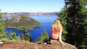 Enjoying The View In Crater Lake National Park Royalty Free Stock Image