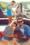 Enjoying time with friends. Stock Image