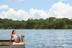 Enjoying time by the lake Stock Photography