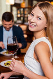 Enjoying time in restaurant. Stock Photos