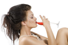 Enjoying to drink red wine Stock Image