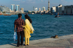 Enjoying the view of Dubai Creek Royalty Free Stock Photos