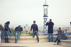 Enjoying the view in Park guell Royalty Free Stock Photography