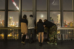 Enjoying the view from the Tokyo tower at night Royalty Free Stock Photo