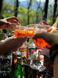 Enjoying weekend. With nice drink and in the garden Stock Photography