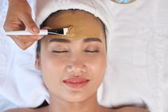 Enjoying Weekend in Spa Salon. Headshot of relaxed Asian women lying on treatment table with closed eyes while unrecognizable cosmetologist applying facial mask stock photo