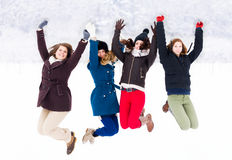 Enjoying Winter with Friends Royalty Free Stock Photo