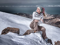 Enjoying winter mountains Royalty Free Stock Photography
