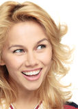 Enjoyment. The happy smiling girl close up Royalty Free Stock Photography