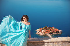 Enjoyment. Fashion smiling woman with blowing dress over blue sk Stock Photography