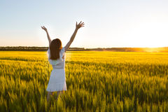 Enjoyment. Free Happy Woman Enjoying Nature. Freedom concept. Royalty Free Stock Photography