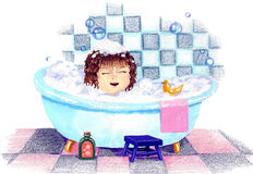 Enjoyment. Happy child playing in bathtub with toys Royalty Free Stock Image