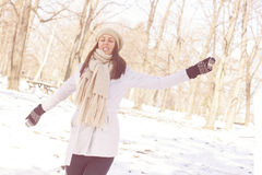 Enjoyment Happy Lovely Relaxing Young Woman Enjoying Winter Royalty Free Stock Photo