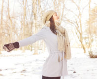 Enjoyment Happy Lovely Relaxing Young Woman Enjoying Winter Royalty Free Stock Photography