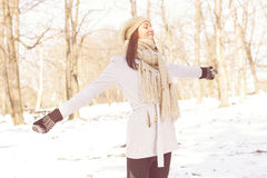 Enjoyment Happy Lovely Relaxing Young Woman Enjoying Winter Royalty Free Stock Image