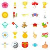 Enjoyment icons set, cartoon style. Enjoyment icons set. Cartoon set of 25 enjoyment vector icons for web isolated on white background Royalty Free Stock Images