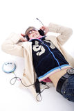 Enjoyment from music. Portrait of a styled professional model. Theme: teens, music Royalty Free Stock Image