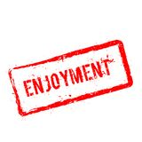 ENJOYMENT red rubber stamp isolated on white. ENJOYMENT red rubber stamp isolated on white background. Grunge rectangular seal with text, ink texture and Royalty Free Stock Images