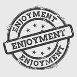 ENJOYMENT rubber stamp isolated on white. ENJOYMENT rubber stamp isolated on white background. Grunge round seal with text, ink texture and splatter and blots Stock Photo
