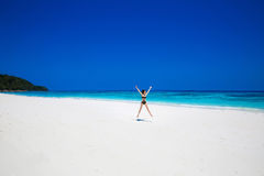 Enjoyment. Seashore. Happy free woman Raising Hands or Open arms Royalty Free Stock Images