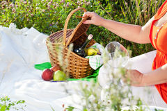 Enjoyng lunch, picnic outdoors Royalty Free Stock Image