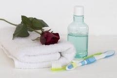 Enjuague y cepillo de dientes para la atención sanitaria Foto de archivo libre de regalías