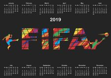 Enkel 2019 år kalender royaltyfri illustrationer