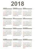 Enkel 2018 år kalender vektor illustrationer