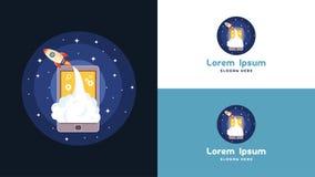 Enkel bärbar dator, telefon och mobil Rocket Logo Design mall, teknologi Logo Design Vector Arkivfoton
