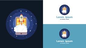 Enkel bärbar dator, telefon och mobil Rocket Logo Design mall, teknologi Logo Design Vector Arkivfoto