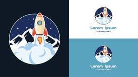 Enkel bärbar dator, telefon och mobil Rocket Logo Design mall, teknologi Logo Design Vector Royaltyfri Foto