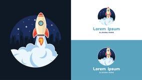 Enkel bärbar dator, telefon och mobil Rocket Logo Design mall, teknologi Logo Design Vector Arkivbild