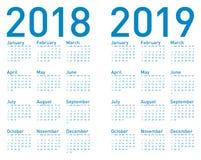 Enkel blå kalender för år 2018 och 2019 stock illustrationer