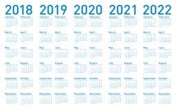 Enkel blå kalender för år 2018,2019, 2020, 2021 och 2022 vektor illustrationer
