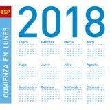 Enkel blå kalender för året 2018, i spanjor vecka Arkivbild