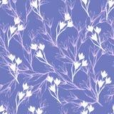 Enkel blom- bakgrund med vita blommor på en purpurfärgad bakgrund r Sömlös prydnad för garneringen av royaltyfri illustrationer