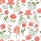 enkel blommamodell Sömlös gullig blom- och prickbakgrund också vektor för coreldrawillustration Mall för modetryck stock illustrationer