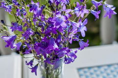 Enkel bukett av lösa blommor i en glass vas som står på tabellen för romantiskt lynne Royaltyfri Foto