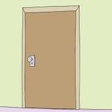 Enkel dörr i vägg Arkivbild