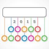 Enkel design för 2015 kalender med färgrika hängande kugghjul royaltyfri illustrationer