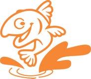 Enkel design Logo Vector för fisktecknad filmtecken royaltyfri illustrationer