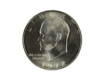 Enkel Eisnehower silverdollar på vit Royaltyfri Bild