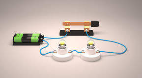 Enkel elektrisk strömkrets (förbindelse i serie) Arkivfoto