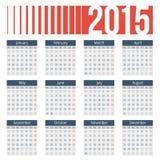 Enkel europé 2015 år vektorkalender Royaltyfri Fotografi