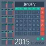 Enkel europé 2015 år vektorkalender Royaltyfria Bilder