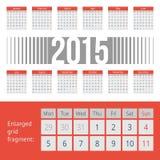 Enkel europé 2015 år vektorkalender Royaltyfri Foto