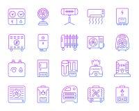 Enkel färglinje symbolsvektoruppsättning för Hvac royaltyfri illustrationer